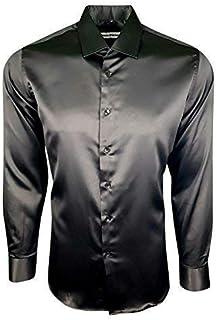509da3c78e Dominic Stefano 422 - Camicia da Uomo in Raso e Seta Lucida, Stile Casual