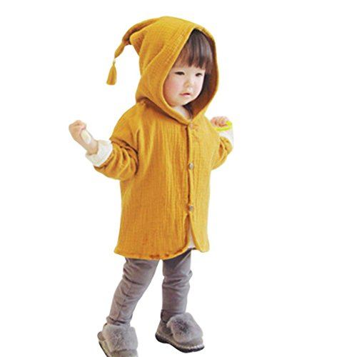 Amuster Amuster Kleinkind Kinder Unisex Baby Junge Mädchen Mantel mit Kapuze Hooded Sweatshirt Strickjacke Pullover Outwear Trenchcoat (90, Gelb)