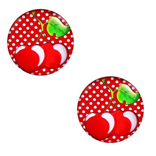 Ohrstecker Polka Dot Weiß Schwarze Punkte – Rockabilly Ohrringe für Damen Ø 10mm Edelstahl - 3