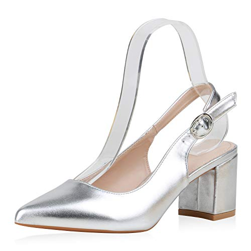 SCARPE VITA Damen Pumps Slingpumps Klassische Schuhe Blockabsatz Spitze Absatzschuhe 188320 Silber Metallic 39