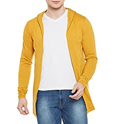 Wittrends Mens Hooded Cotton Blend Shawl Neck Cardigan Shrug with Side Pockets