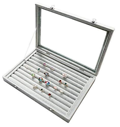 WHXJ Schmucklade Transparenter Deckel mit Verschluß, 24 Fächer Schmuck Aufbewahrungssystem Samt Aufbewahrungsbox mit fächern, Zum Ketten, Ohrringe, Ringe Schmuckkasten(20 * 15 * 5 cm) Ring Box