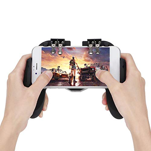 Mobile Gaming Controller, Game Phone Grip Wärmeableitung Joystick Smartphone Gamepad Wärmeableitung mit Lüfter, Unterstützung, Power Charger Finger Trigger für PUBG, Shooter.