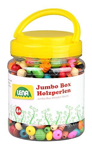 Lena 32044 - Bastelset Holzfädelperlen in Jumbo Box, mit Fädelperlen aus Holz, ca. 2 cm groß, Holzperlen Mix Set für Kinder ab 4 Jahre, Perlen zum Selberbasteln von Ketten und Fädeln von Perlenschmuck