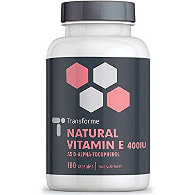 Vitamin E 400IU, 180 All Natural Capsules, High Strength, Efficient Absorption, Maximum Benefit, for Protection from Oxidative Stress, 6 Month Supply, Gluten and GMO Free, UK Made, Full Money Back Guarantee, by Transforme