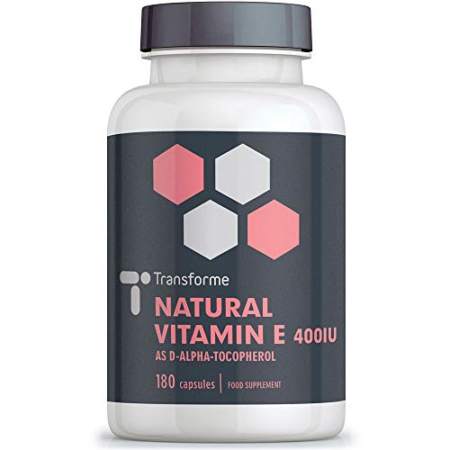 Vitamin E Capsules 400iu Natural Source, 180 Softgels, Natural Liquid D-Alpha Tocopherol, Higher Absorption Than Tablets, 6 Month Supply from Transforme
