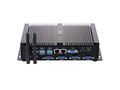 Fanless Industrial PC,Mini Computer,Windows 7/10 Pro/Linux Ubuntu,Intel Core I5 3317U,(Black),[HUNSN IM02],[64Bit/Dual Band WiFi/1VGA/1HDMI/4USB2.0/4USB3.0/2LAN/4COM],(8G RAM/128G SSD)