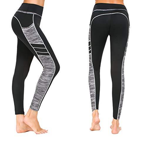 Munvot Damen Sporthose Sport leggings Tights, C1173-0310(grau), L (DE40-42)