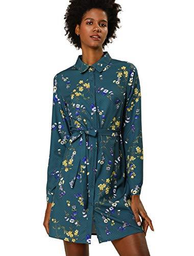 Allegra K Women's Lapel Button Down Belted Above Knee Vintage Polka Dots Floral Shirt Dress XS Teal Blue