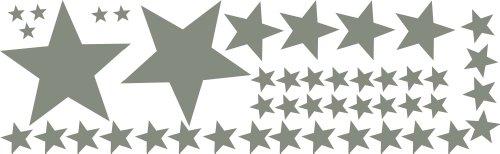 Fenstertattoo 50 Stück selbstklebende, Graue Sterne gemischt Ø15-2cm, Aufkleber, gemischt, Fensterdekoration zu Weihnachten Fensterbild / Fensteraufkleber, Wandtattoo Deko Sticker, Autoaufkleber, Weihnachtsdekoration, Schaufenster In- und Outdoor 70016