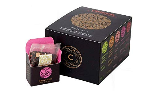 Variety Pack Gourmet Tea Sampler, by Ceremonie Tea. A Collection of 10 Different Assorted Single Serve Flavors, Set of 2 each Petite Mini Cube Tea Bags. 20 total silk cubes