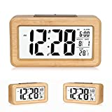 Despertador digital de bambú de fácil ajuste con temperatura, fecha, luz de fondo, para dormitorio, cama, casa, oficina, sin tic-tac.