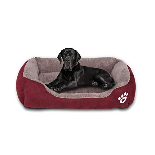 GoFirst Dog Bed Medium, Warm Soft Comfortable Pet Bed Sofa XL 80 * 60cm for Medium Dogs Cats Small Pets - Red