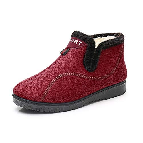 Fleece Botas, cálido y confortable en invierno, zapatos de algodón suave y ligero antideslizante alto-top de suela blanda de las mujeres,Rojo,38