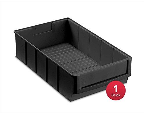 aidB Industriebox, 300x183x81 mm, breit, schwarz, leitfähig, robuste Aufbewahrungsbox aus Kunststoff, stapelbare Lagerbox, ideal für die Industrie