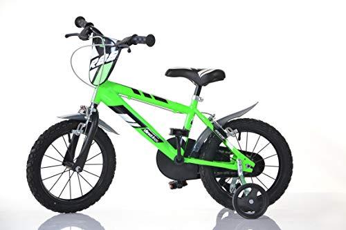 DINO BIKES MTB 414U 14 pouce KIDSBIKE boy vélo, bicyclette, enfant-velo, bécane, vélocipède, rouler en vélo, faire du vélo..vert..stabilisateurs..bidon..gardeboue.. 14pouce 3-6 ans 100-120cm