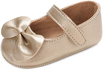LACOFIA Bailarinas Princesas Bebé Niñas Zapatos Bowknot Bebé Primeros Pasos con Suela Suave Antideslizante Gold 3-6 Meses
