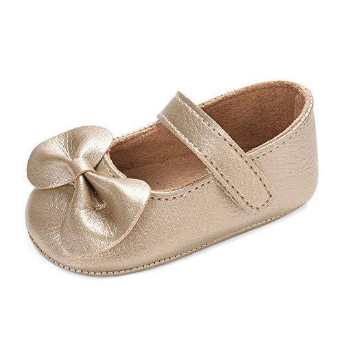 LACOFIA Baby Krabbelschuhe Kleinkind Mädchen rutschfest Bowknot Prinzessin Mary Jane Schuhe Golden 12-18 Monate