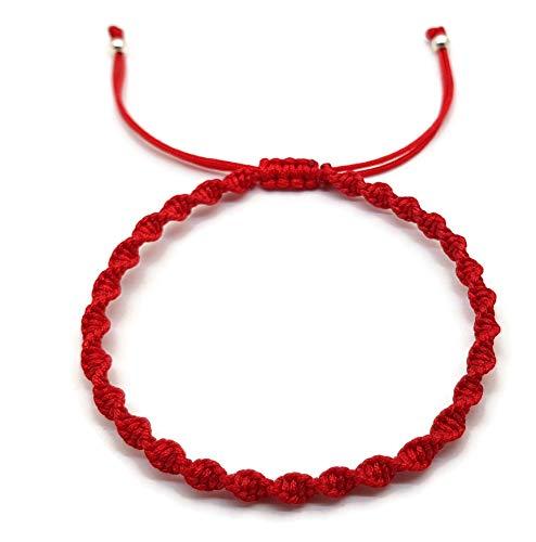 Mystic Jewels - Makramee-Armband, Kabbalah aus farbigem Garn, Amulett, Schutz vor dem bösen Blick, Glücksbringer rot