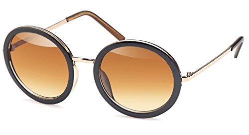 UVprotect große Damen Retro John Lennon Style Rundbrille Sonnenbrille mit Kunststoff Design Rahmen braun W77-3
