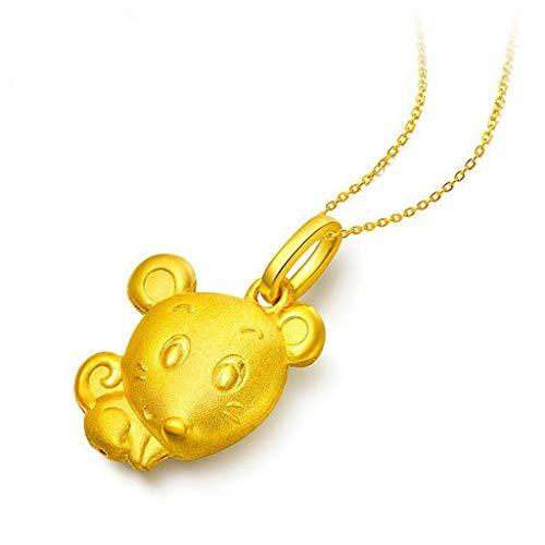 Baiyao Collar con colgante de ratón de caricatura de cobre dorado, regalo para familia, amantes, amigos