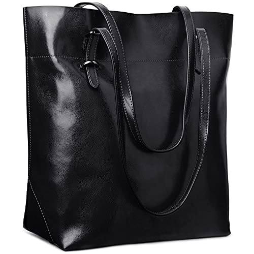 S-ZONE Damen Echtleder Tasche Shopper Groß Tote Handtasche Henkeltasche (A-schwarz)