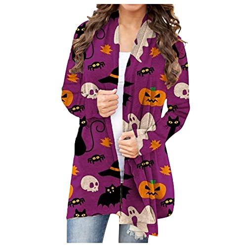 Mujeres Halloween Animal Gato Calabaza Print Cardigan Otoño Capa Blusa SW830458, Morado (, S
