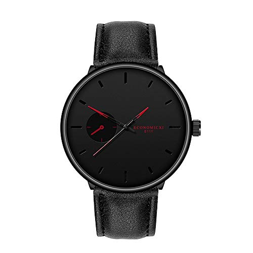 Men's Analog Quartz Watch, Simple Simgle Eye Decor Minimalist No Number Scale Dial Business Wristwatch with Leather Belt Jewelry Gifts (Red)