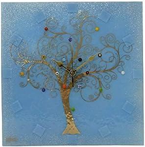 SOSPIRI VENEZIA Reloj de pared cuadrado de cristal de Murano árbol de la vida 30 x 30 cm, técnica de vitrofusión, decoración murrina y hoja dorada, hecho a mano por artesanos venecianos (azul)