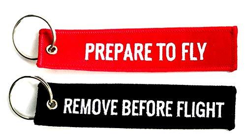 """Set di portachiavi con scritta """"Remove before flight"""" nero + Remove Prepare to Fly rosso"""