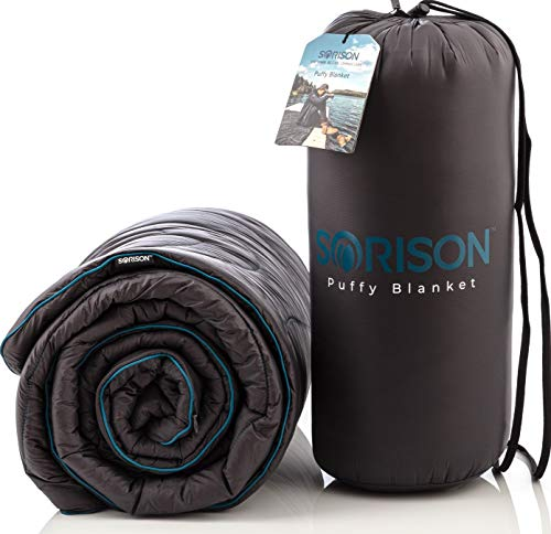 SORISON Large, Ultra Warm, Puffy Camping Blanket, Hammock Top Quilt and Stadium Blanket for Cold Weather, Weatherproof, Down Alternative
