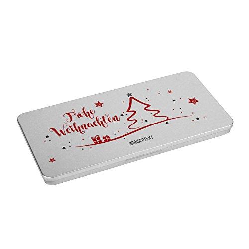 Herz & Heim® Blechdose als Geschenkverpackung - Frohe Weihnachten - mit Wunschtext Aufdruck