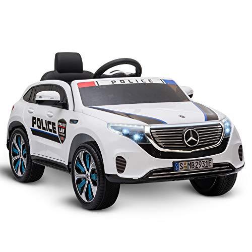 HOMCOM Coche Eléctrico de Policía para Niños Mercedes EQC Batería 12V +3...