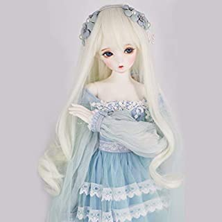 1/3 BJD Doll Wig High Temperature Synthetic Fiber Long Wavy Curly Light Blonde Hair Wig BJD Doll Wigs for 1/3 1/4 1/6 BJD SD Doll(T5404)