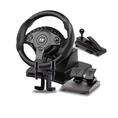 MXMYFZ Conducción del Volante del Juego, Simulador de automóviles con Pedales y Freno de Mano, Rotación de 900 ° Camiones de simulación de rotación Volante, Adecuado para PC/Laptop,Negro