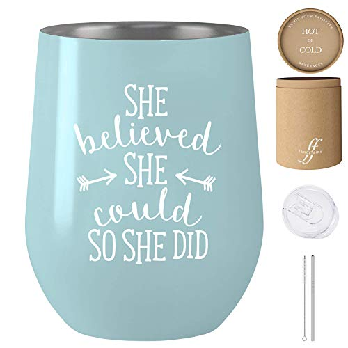 She Believed She Could So She Did - 12 oz Stainless Steel Stemless Wine Tumbler with Lid and Straw – Congratulations, Graduation, Promotion, Going Away, Job Change, Congrats Gift (Blue)