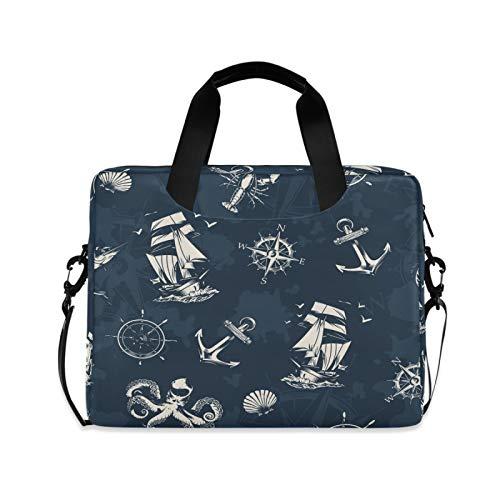 Laptop Bag Vintage Shoulder Messenger Laptop Case Sleeve Vintage Sea Nautical Computer Bag 13/14/15.6 Inch for Men Women