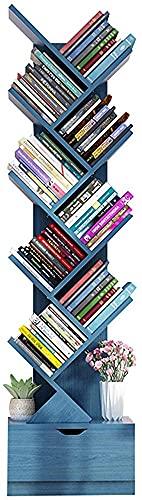10 Capa árbol Estantería De Estante De Pie Estanco De Libros De Libros De Libros De Libros De Estante De La Revista Multi-tier Piso De Pie Libre Estante De Madera(Size: 10 layer ,Color:Azul)