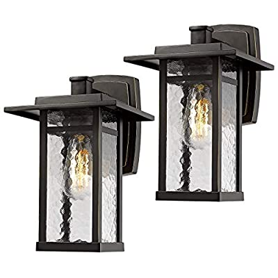 Beionxii Outdoor Wall Light Sconce | 2 Pack Exterior Lighting Fixture 13.6-Inch Height, Oil Rubbed Bronze Finish with Water Ripple Glass - A268W-2PK