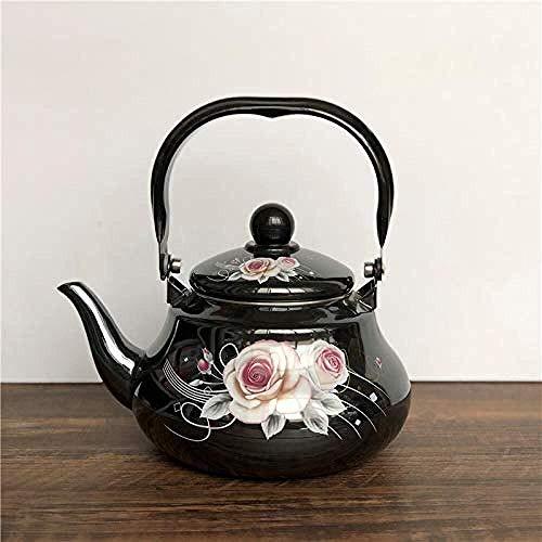 YUQIYU Tea Sets Tea Pots Enameled Kettle Kettles Tea Pots Enamel Enamel Ethnic Style Series Small Floral Yellow White Red Pot Cup (Color : 1.5l)