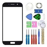 MovTEK Pantalla Repuesto Cristal Tactil Frontal para Samsung Galaxy A5 A520 (2017) con Kit de Herramientas y Adhesivo 3M Negro