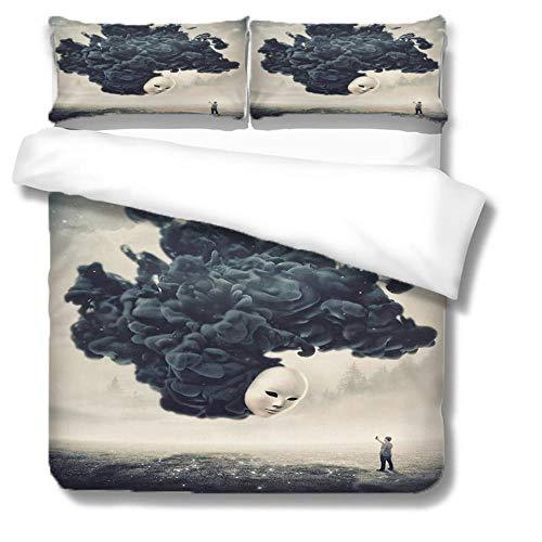 LiYiAT Bettwäsche 240X220 cm mit Weich Atmungsaktiv Monster und Männer Bettwäsche Set 3 Teilig 1 Mikrofaser Bettbezug mit Reißverschluss und 2 Kissenbezüge 80 X 80cm für Kinder Erwachsene