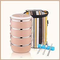 積み重ね可能なステンレススチールランチボックスとランチバッグ,大人のための食器が付いている漏れ防止食品貯蔵容器 オフィス-h 25.5x14.5cm(10x6inch)