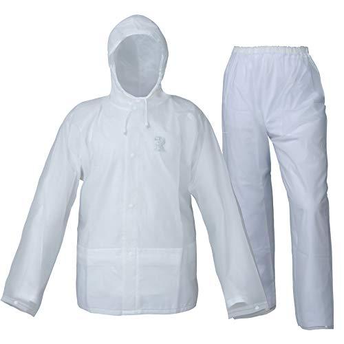 EVA Emergency Rain Suit for Men Women Waterproof Environmental Rain Coat with Pants 2 Pieces Portable Rain Gear(White,M)