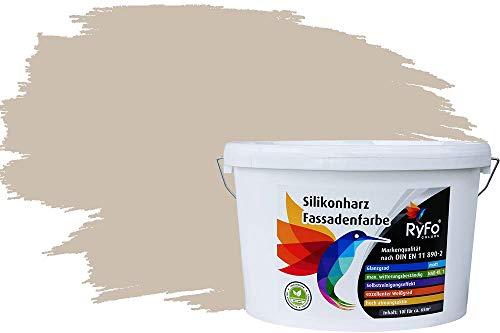 RyFo Colors Silikonharz Fassadenfarbe Lotuseffekt Trend Lichtgrau 10l - bunte Fassadenfarbe, weitere Grau Farbtöne und Größen erhältlich, Deckkraft Klasse 1
