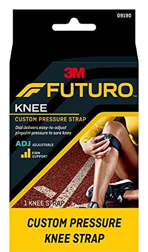 FUTURO Custom Pressure Knee Strap, Targeted Pressure, Knee Tendon, Gel Pad, Reversible, Right Knee, Left Knee, Firm Stabilizing Support, Adjustable