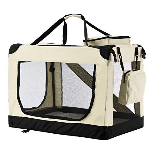 Sam´s Pet Hundetransportbox Lassie L (beige) faltbar - 50 x 70 x 52 cm - Reisebox mit Decke, Tasche & Griffen – Stoff Transportbox für Hunde