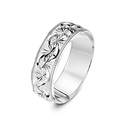 Theia Unisex 9 ct White Gold, Garland Flowery Design with Millgrain/Beaded Edges, Polished, 7 mm Wedding Ring - Size L