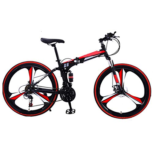 LHR Faltbares Mountainbike-Fahrrad, 24-Zoll Einrad-Fahrrad Doppel-stoßdämpfer Rennen Offroad-geschwindigkeitsänderung Mit Installationswerkzeugen Erwachsene Studenten Teenager