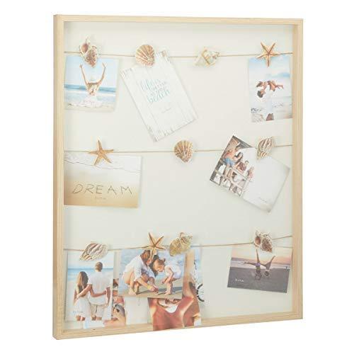 Holz Bilderrahmen Maritim mit Leine und Seestern Clips - 60x50 cm - Urlaub Fotohalter Sommer Bilderhalter Fotorahmen